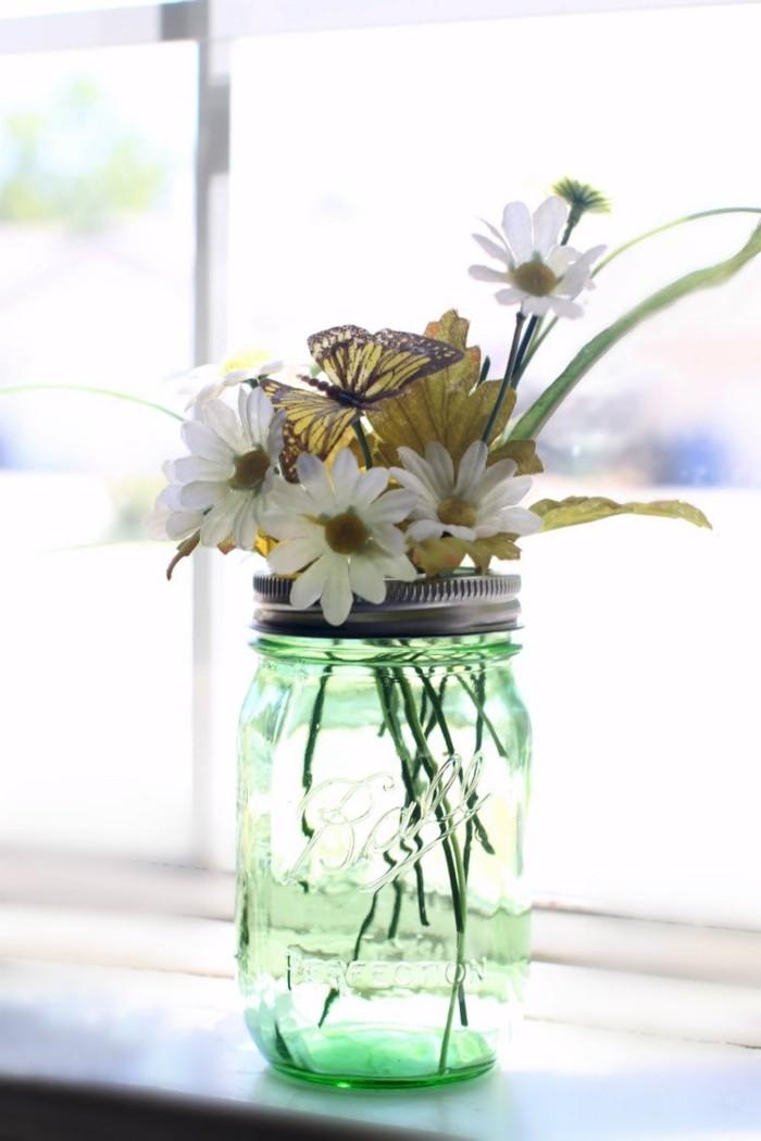 kreativ basteln einmachgläser vase deckel blumen