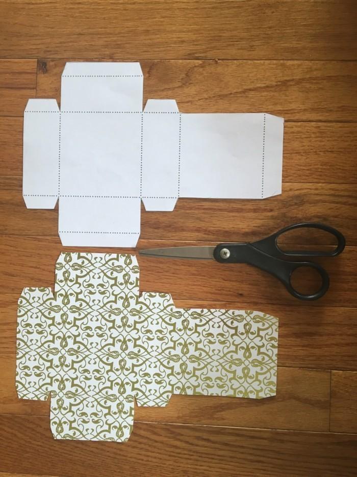 kreativ basteln papier verwenden muster kisten