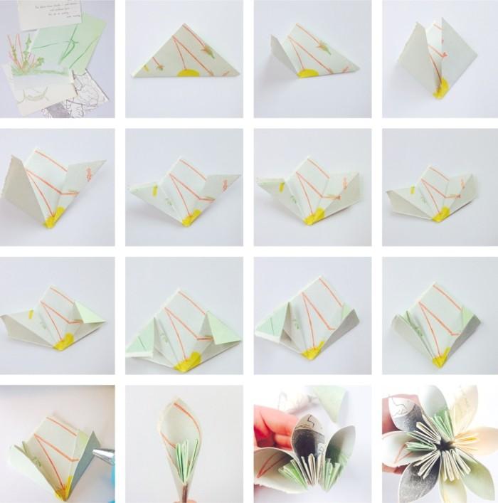 kreativ basteln wunderschöne blume aus papier selber machen anleitung in bildern