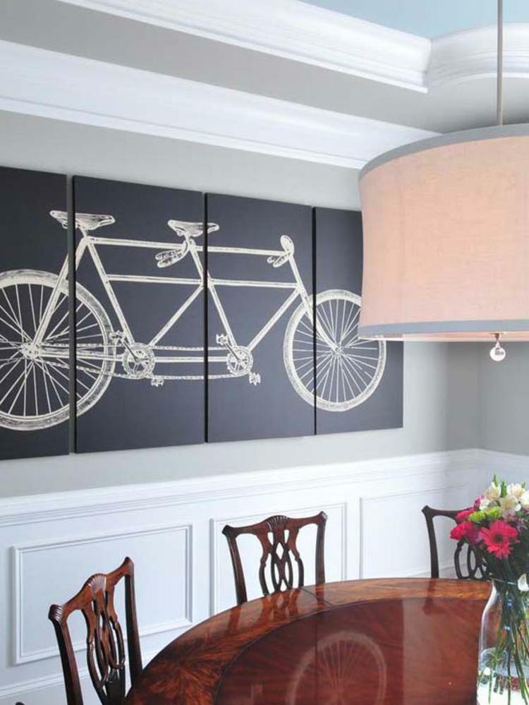 kreative Wandgestaltung Bilder Esszimmer Deko Ideen Fahrrad Wandgemälde