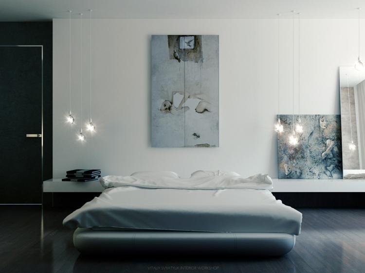 Kreative Wandgestaltung Schlafzimmer Ideen Bett Moderne Wanddeko