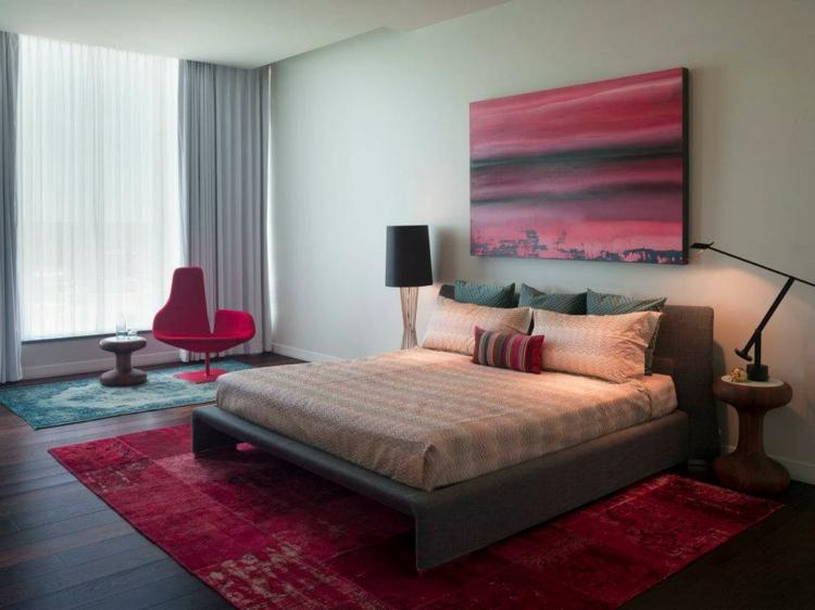 kreative Wandgestaltung Schlafzimmer Ideen Wandgemälde rot