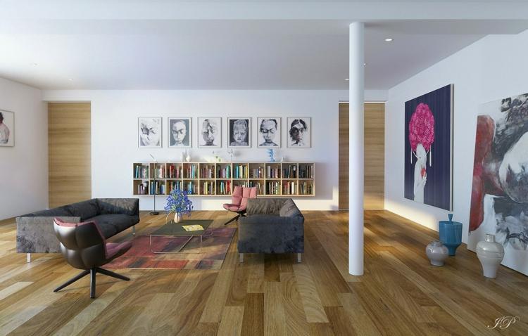 kreative Wandgestaltung Wohnzimmer Ideen Bücherregal