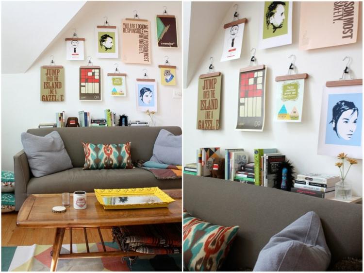 kreative Wandgestaltung Wohnzimmer Ideen Kleiderbügel Klammern