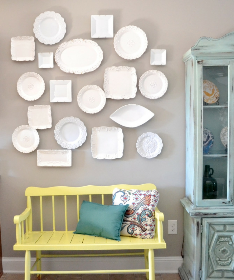 Kreative Wandgestaltung Wohnzimmer Ideen Teller Weiß