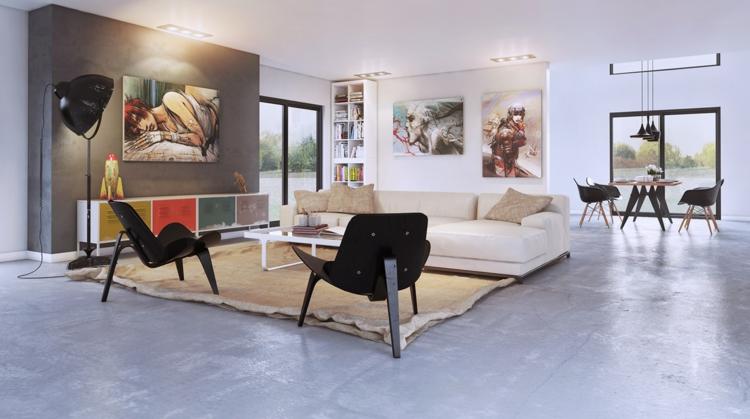 kreative Wandgestaltung Wohnzimmer Ideen Wandfarbe moderne Art Kunstwerke