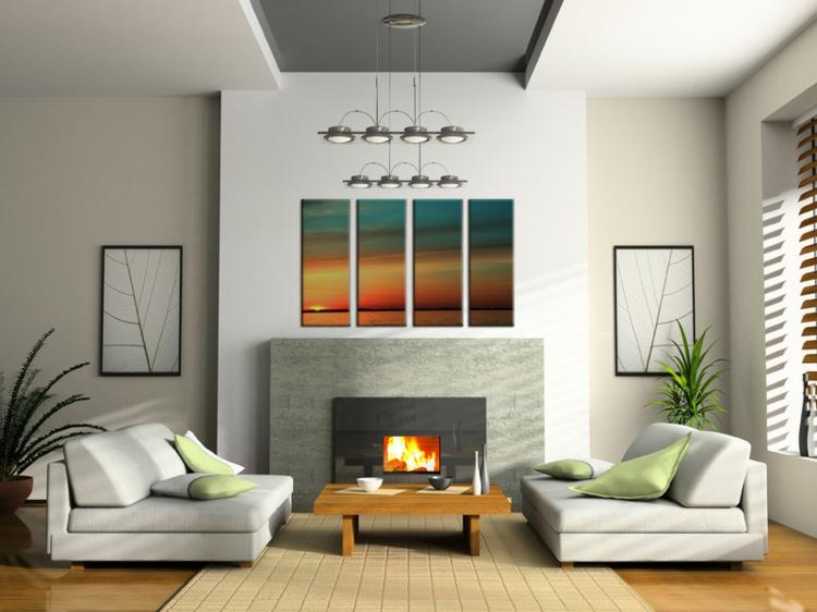 kreative Wanddeko Wohnzimmer Ideen Wandfarbe weiß Kamin