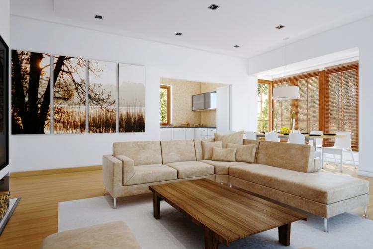 kreative Wanddeko Wohnzimmer Ideen Wandfarbe weiß Kunstwerk