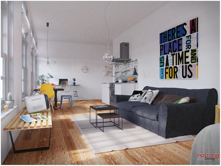 kreative Wanddeko Wohnzimmer Wohnwand Ideen moderner Stil
