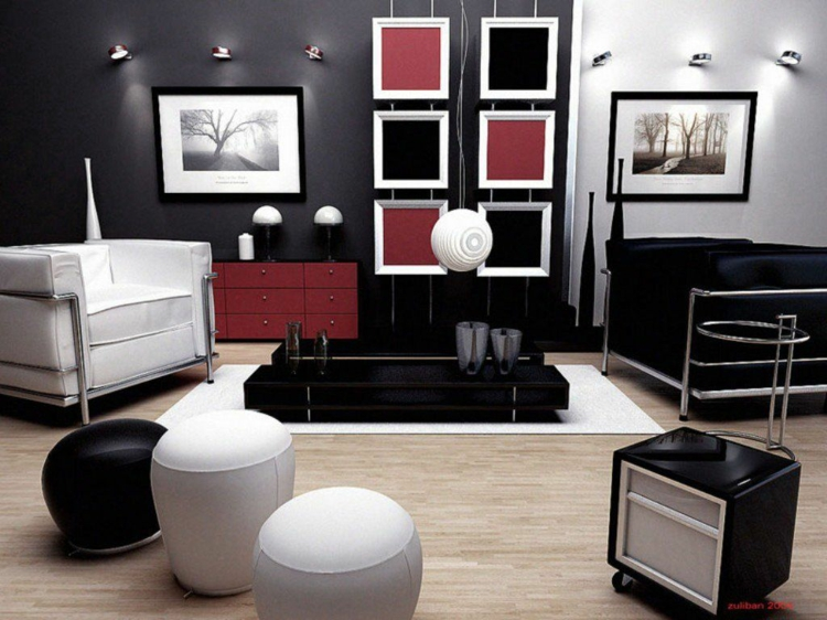 Kreative Wandgestaltung Mit Farbe Wohnzimmer Ideen Schwarz Weiß Rot