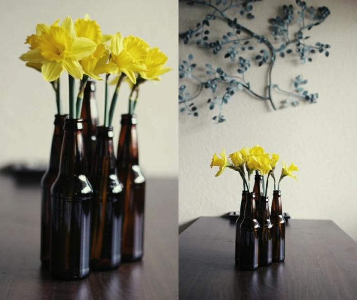 kreative wohnideen bierflaschen dekoideen vasen