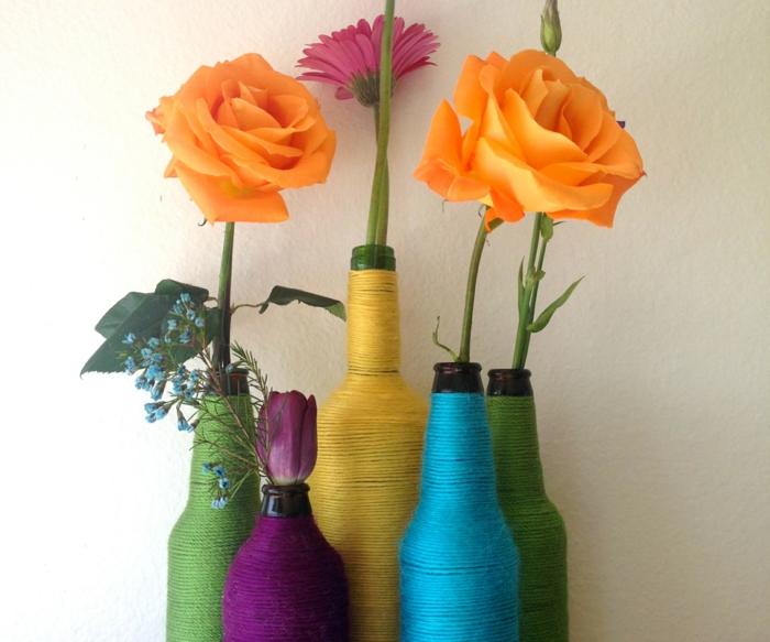 kreative wohnideen flaschen faden farbig dekoideen