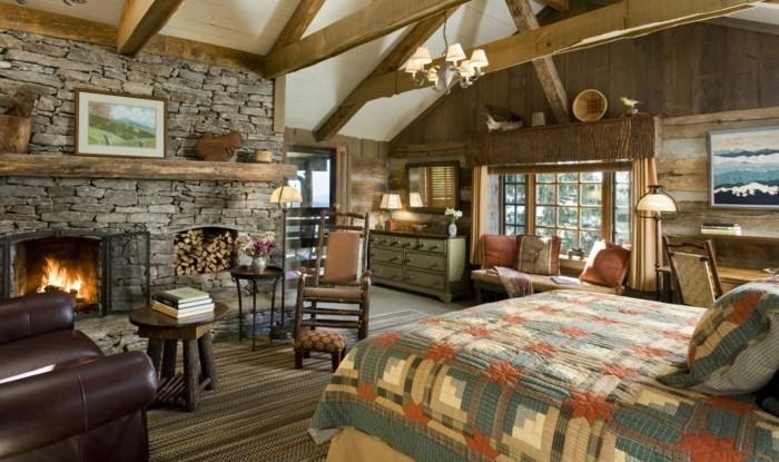 landhausstil schlafzimmer gemütliches ambienete und farbenfrohe muster