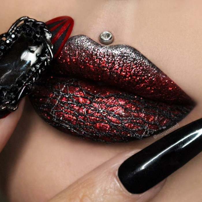 lippen schminken halloween partyideen nageldesign maleficent