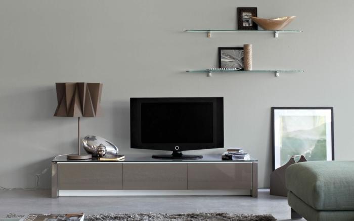 lowboard tv wohnzimmer ideen einrichten einrichtungsbeispiele holzmöbel diy ideen grau