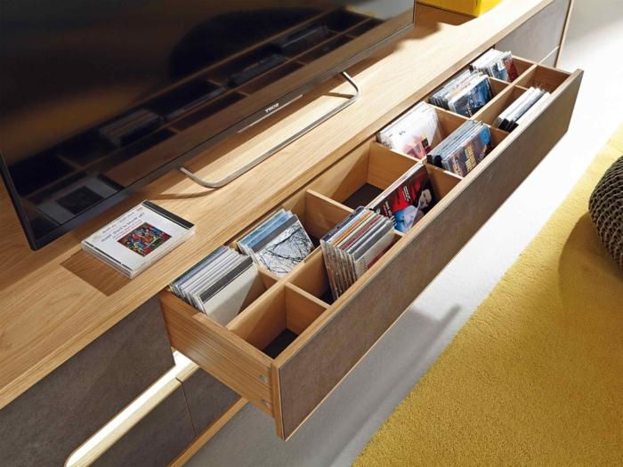 lowboard tv wohnzimmer ideen einrichten einrichtungsbeispiele schwarz platz sparend