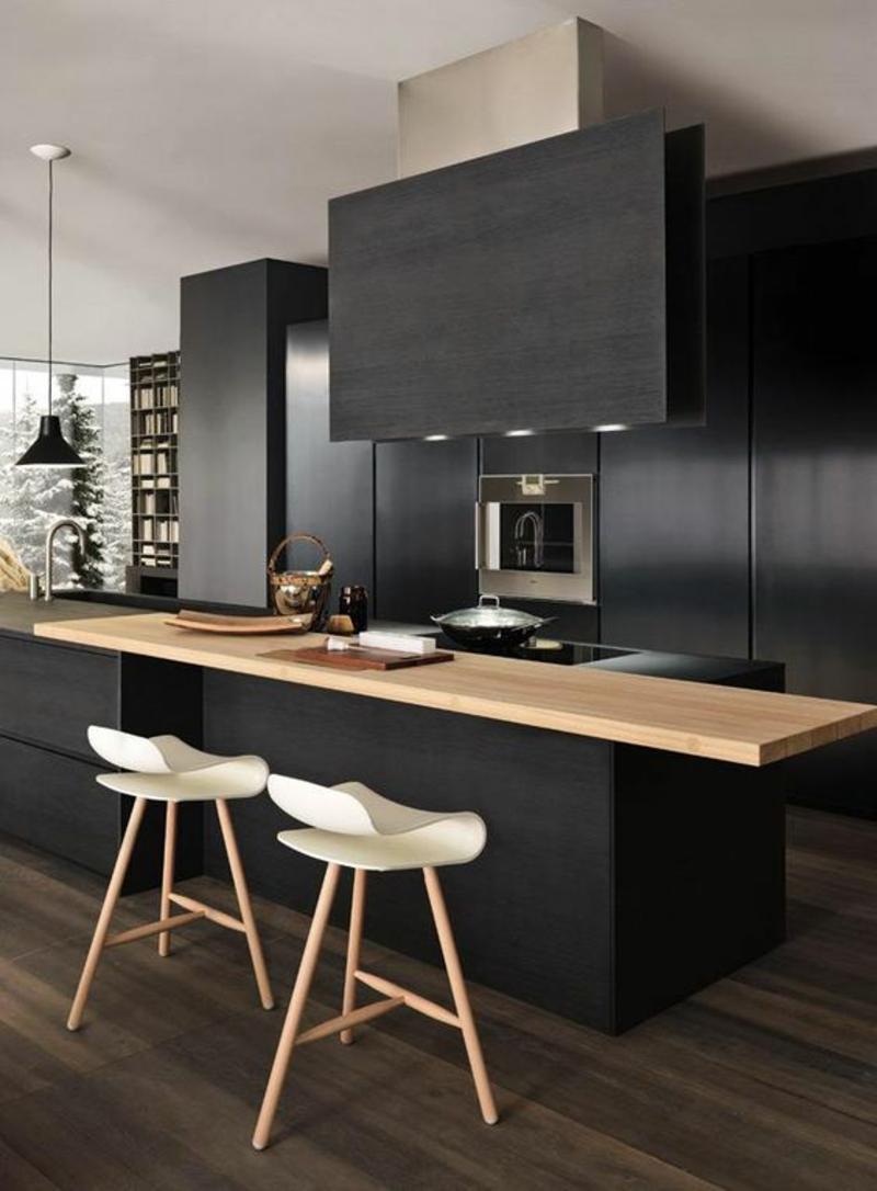 moderne Küche schwarz Kücheninsel Holz Arbeitsplatte