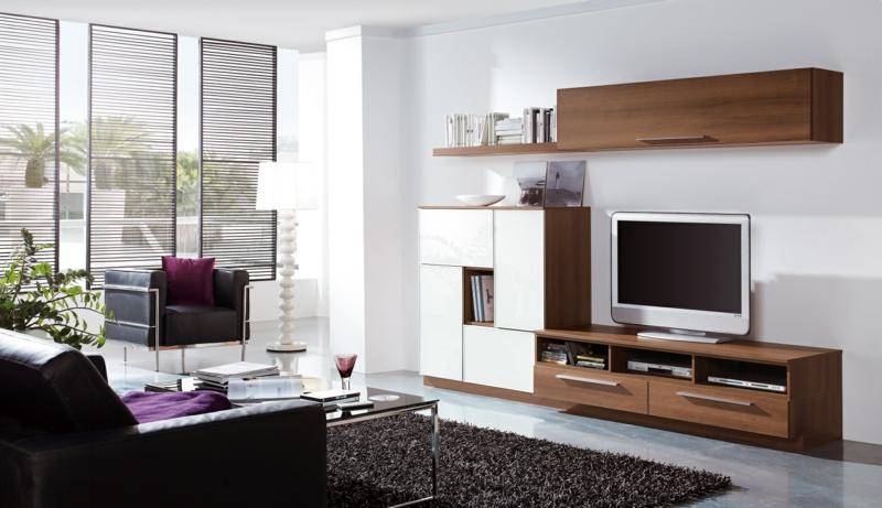 moderne wohnwand mit viel stauraum interessante ideen f r die gestaltung eines. Black Bedroom Furniture Sets. Home Design Ideas