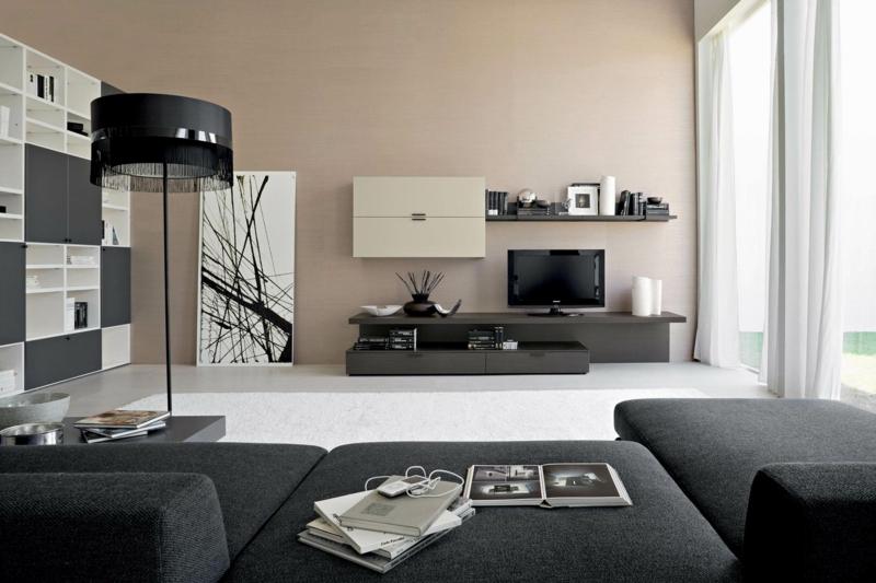 Wohnwand design wand  Die moderne Wohnwand ist praktisch und bietet viel Stauraum an