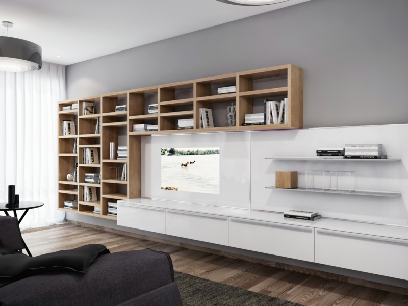moderne wohnwand holz b cherregale hochglanz wei praktische tv. Black Bedroom Furniture Sets. Home Design Ideas