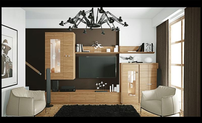 Moderne Wohnwand Holz : Die praktische Seite der modernen TVWände – 41 Wohnwand Ideen