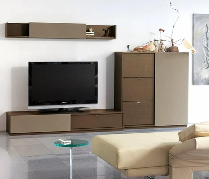 moderne wohnwand nussbaum praktische tv w nde. Black Bedroom Furniture Sets. Home Design Ideas