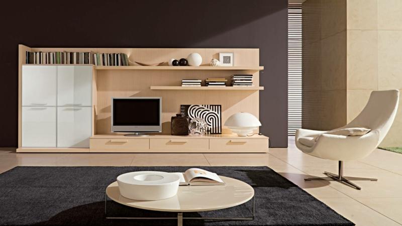 moderne wohnwand wohnzimmer m bel tv w nde holz. Black Bedroom Furniture Sets. Home Design Ideas