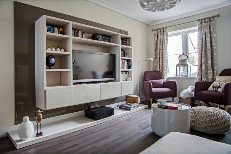 Moderne Wohnwand Holz : moderne Wohnwand weiß Holz praktische TV Wände