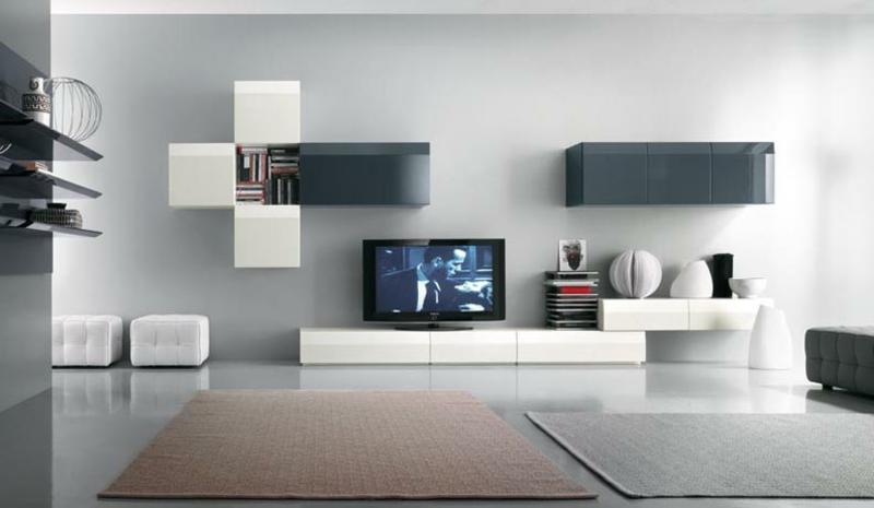 moderne wohnwand wei grau wohnwand ideen. Black Bedroom Furniture Sets. Home Design Ideas