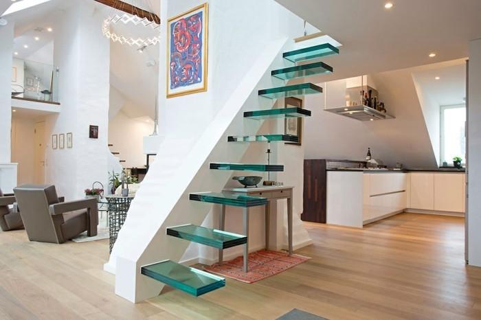 moderne treppen gläsern minimalistisch offener wohnplan