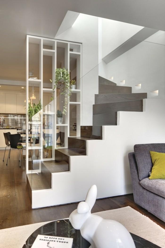 moderne treppen gläsernes treppengeländer offener wohnplan