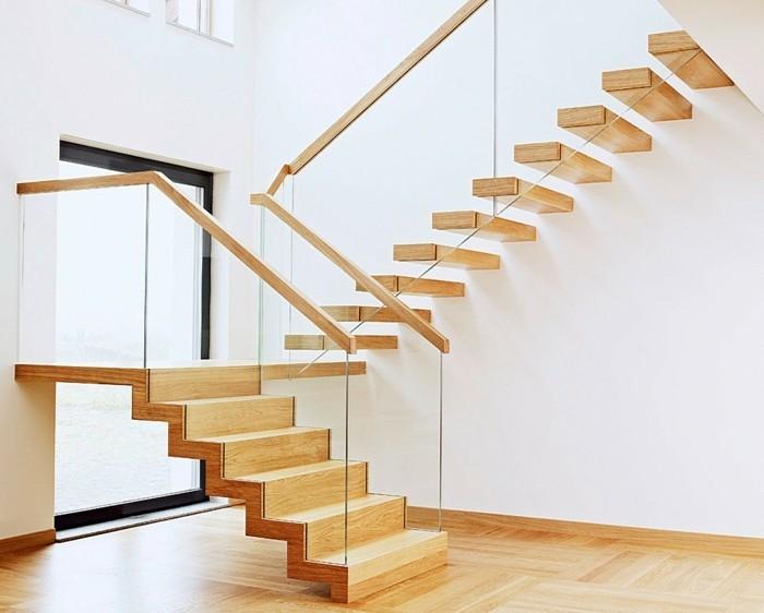 moderne treppen hölzern minimalistisch weiße wände