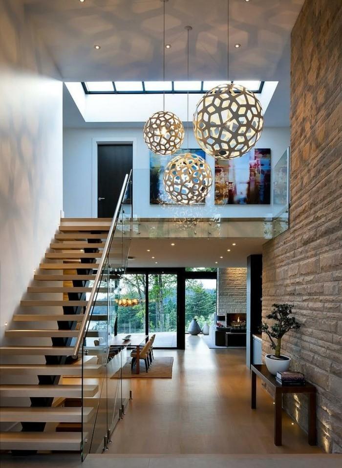 moderne treppen holz glas treppenhaus