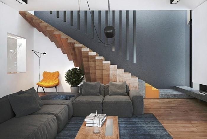 moderne-treppen-holz-grauer-teppich-wohnzimmer