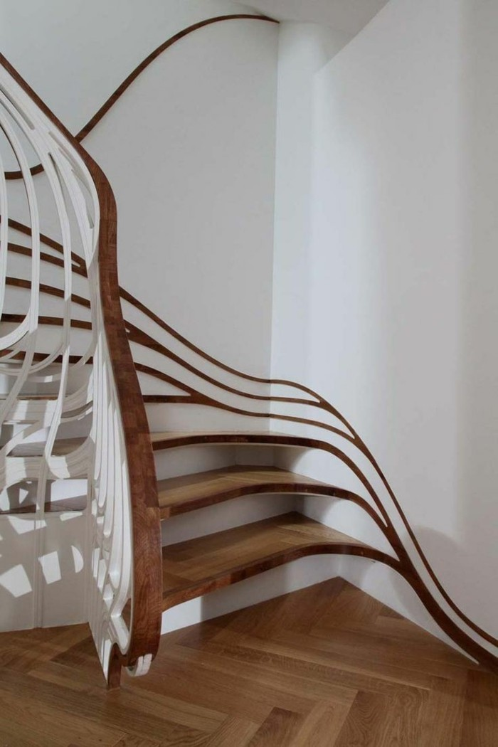 moderne treppen wellenförmige stufen ausgefallenes treppenhaus