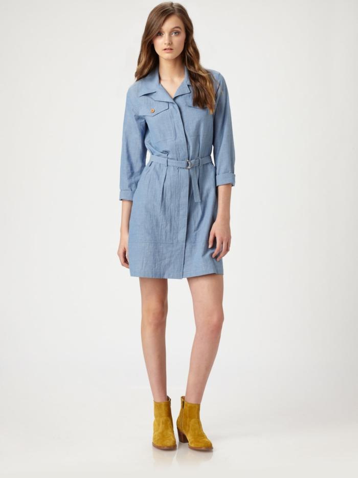 modetrends denim kleider frauenmode passende schuhe auswählen