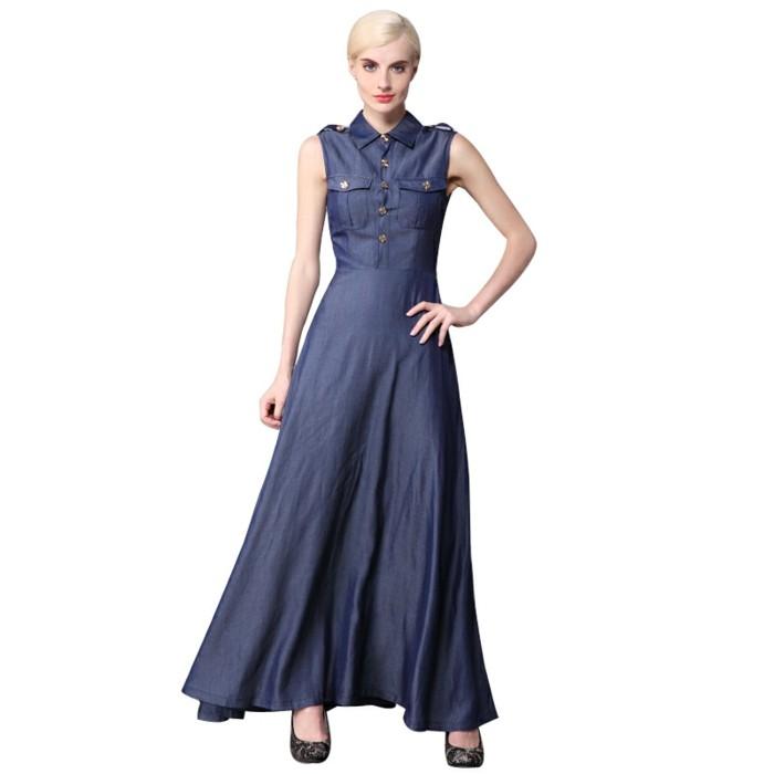 modetrends frauen kleider lang denim