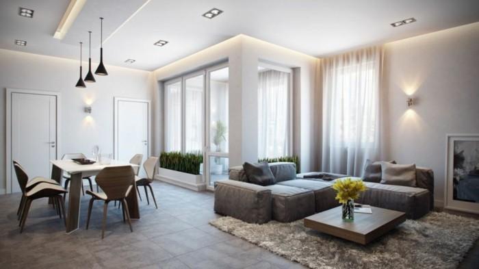 schönes wohnzimmer beiger teppich hängelampen bodenfliesen