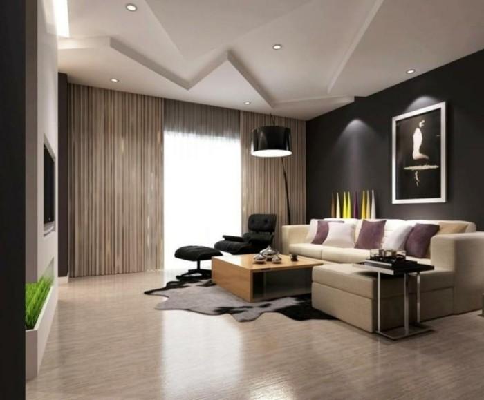 schönes wohnzimmer beiges sofa fellteppich dekoideen