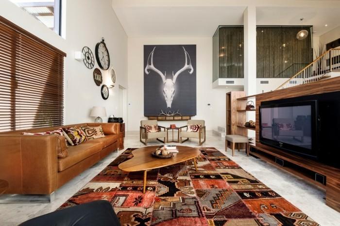 schönes wohnzimmer cooler teppich fernseher