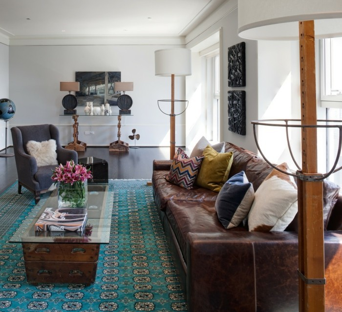 schönes wohnzimmer cooles teppichmuster vintage