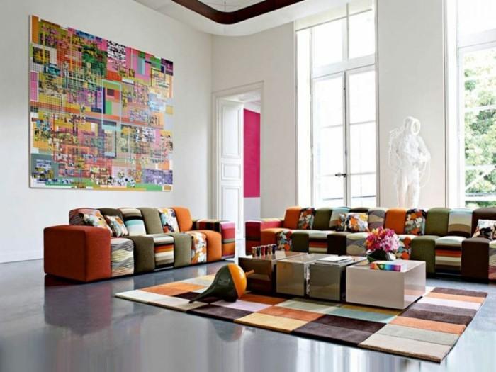 schönes wohnzimmer farbiger teppich schöne wanddeko