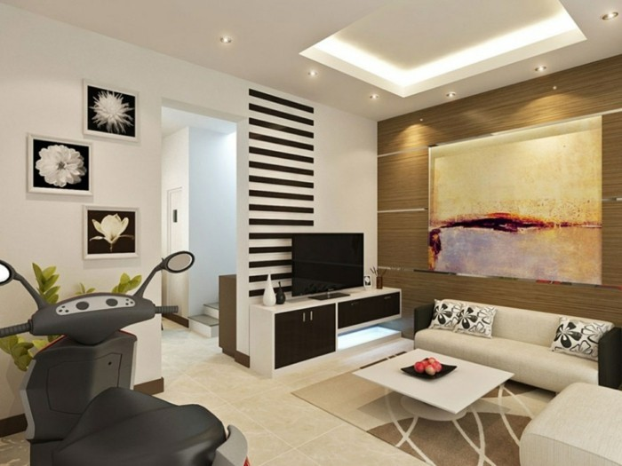 schönes wohnzimmer fernseher beiger teppich