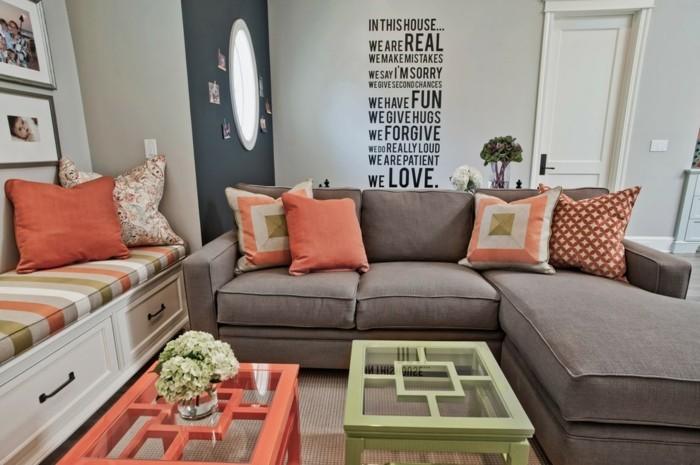schönes wohnzimmer grün orange grau