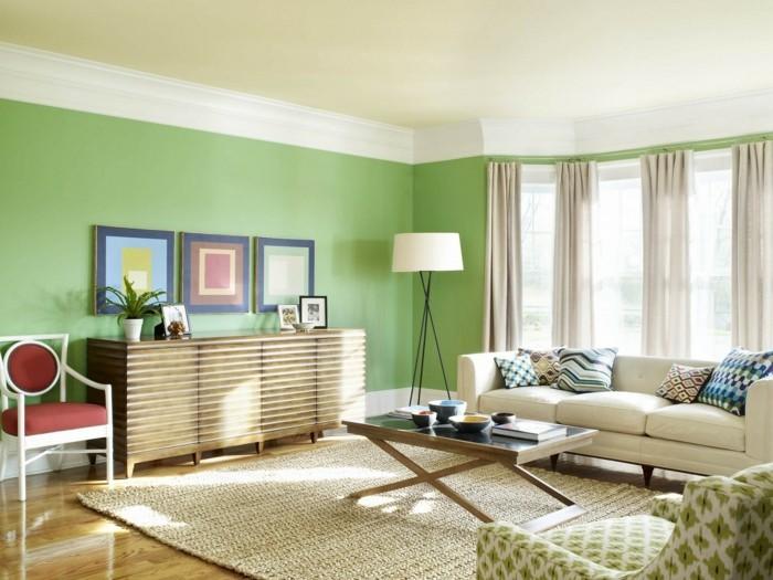 schönes wohnzimmer grüne wände sisalteppich frisch