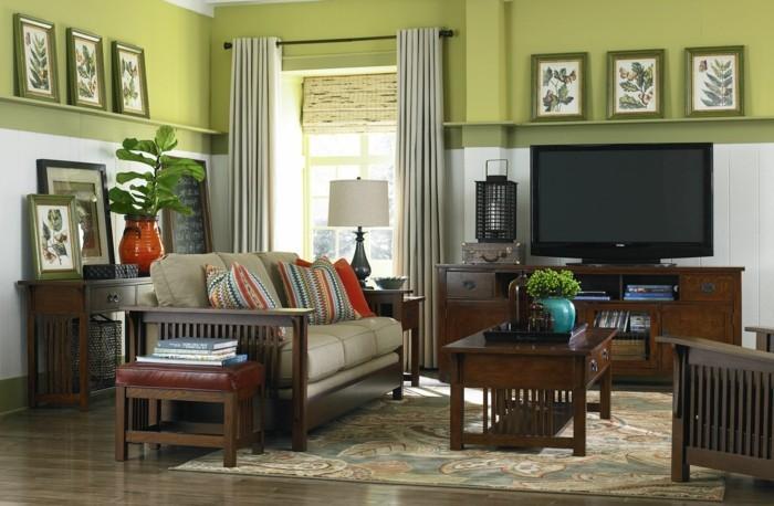 schönes wohnzimmer grüne wände