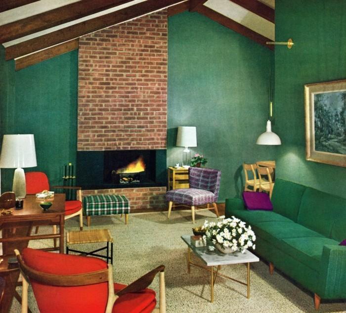 schönes wohnzimmer grünes sofa rote sessel