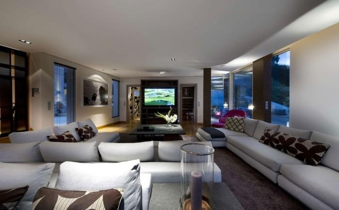 schönes wohnzimmer helle einrichtung einbauleuchten