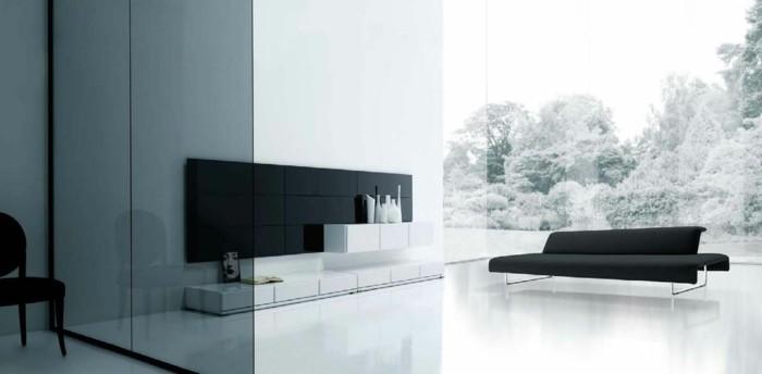 schönes wohnzimmer heller bodenbelag schwarze möbel glas akzente