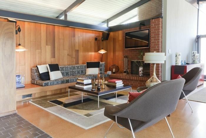 schönes wohnzimmer retro look feuerstelle eleganter teppich